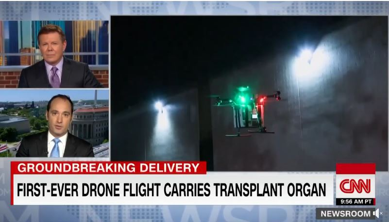 first ever drone flight carries transplant organ
